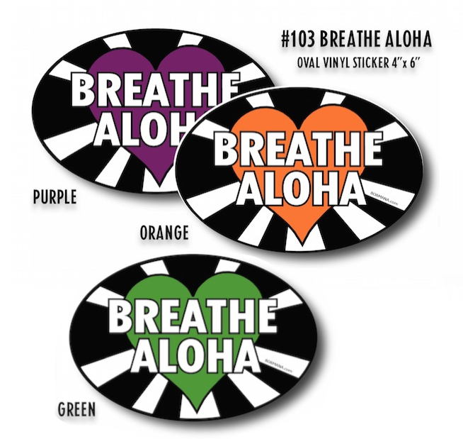 103 BREATHE ALOHA OVAL VINYL STICKER